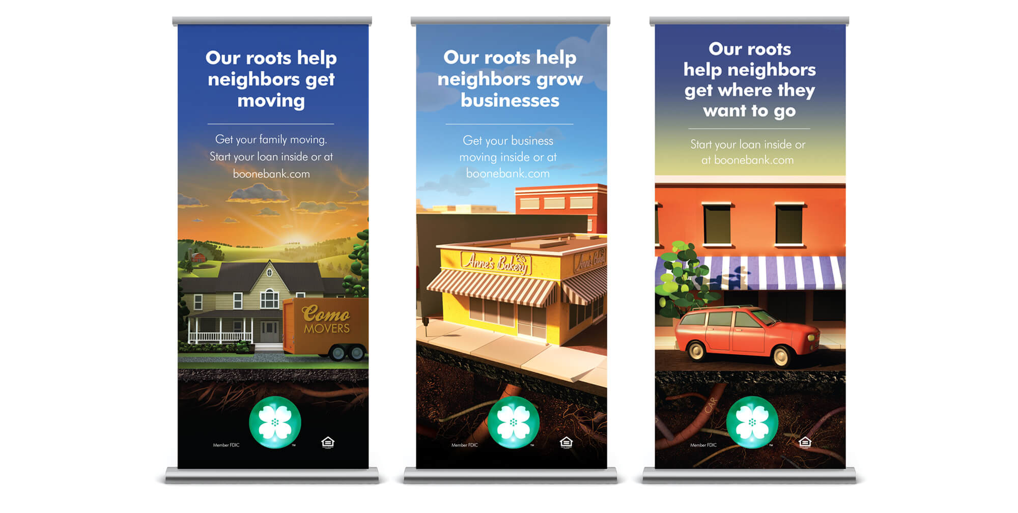 Boone County Bank Roots Campaign retractable banners
