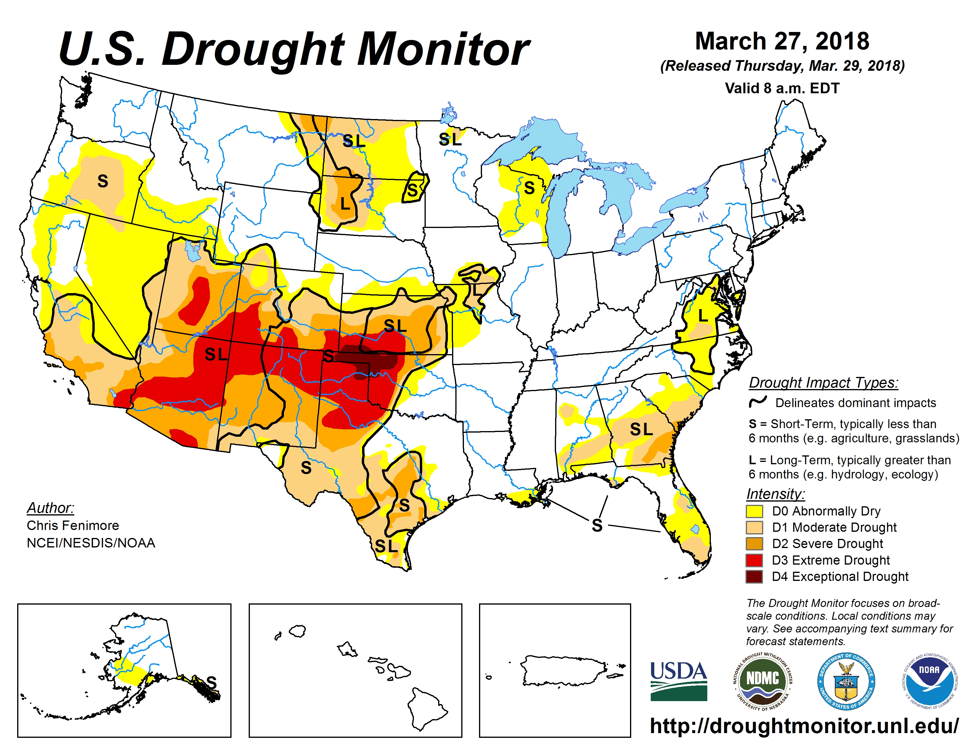 US Drought Monitor report for March 27, 2018