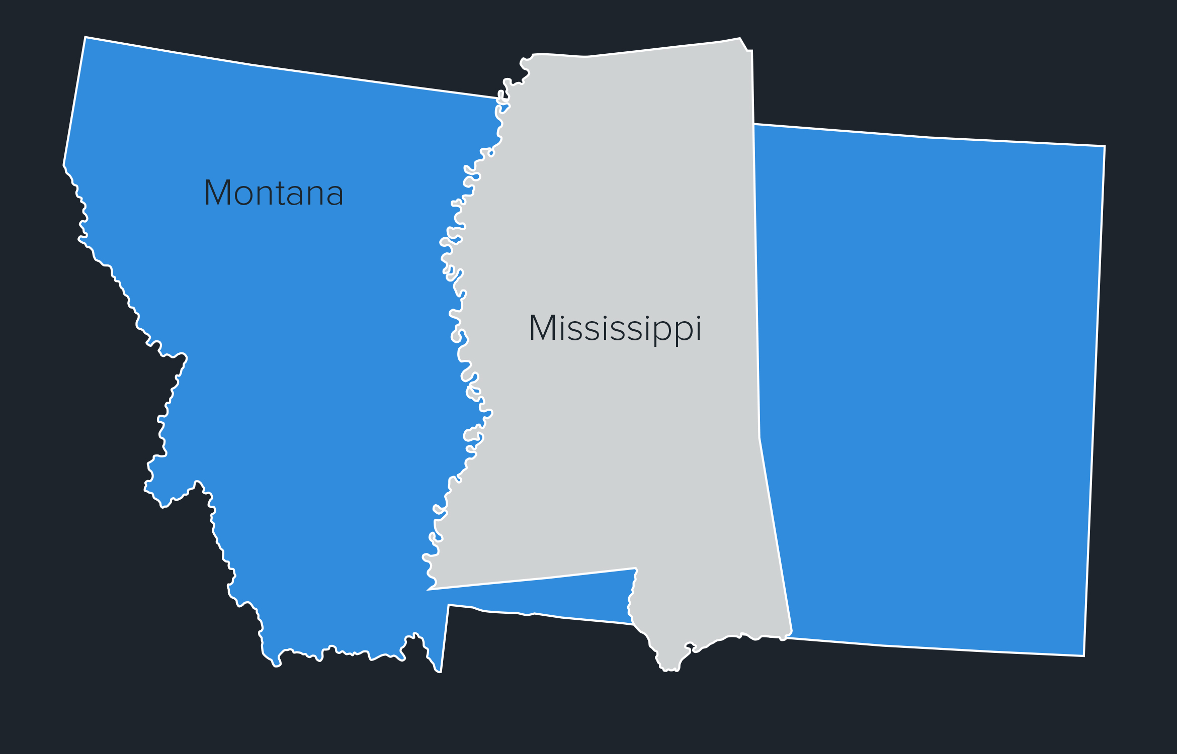 Montana Mississippi state outlines